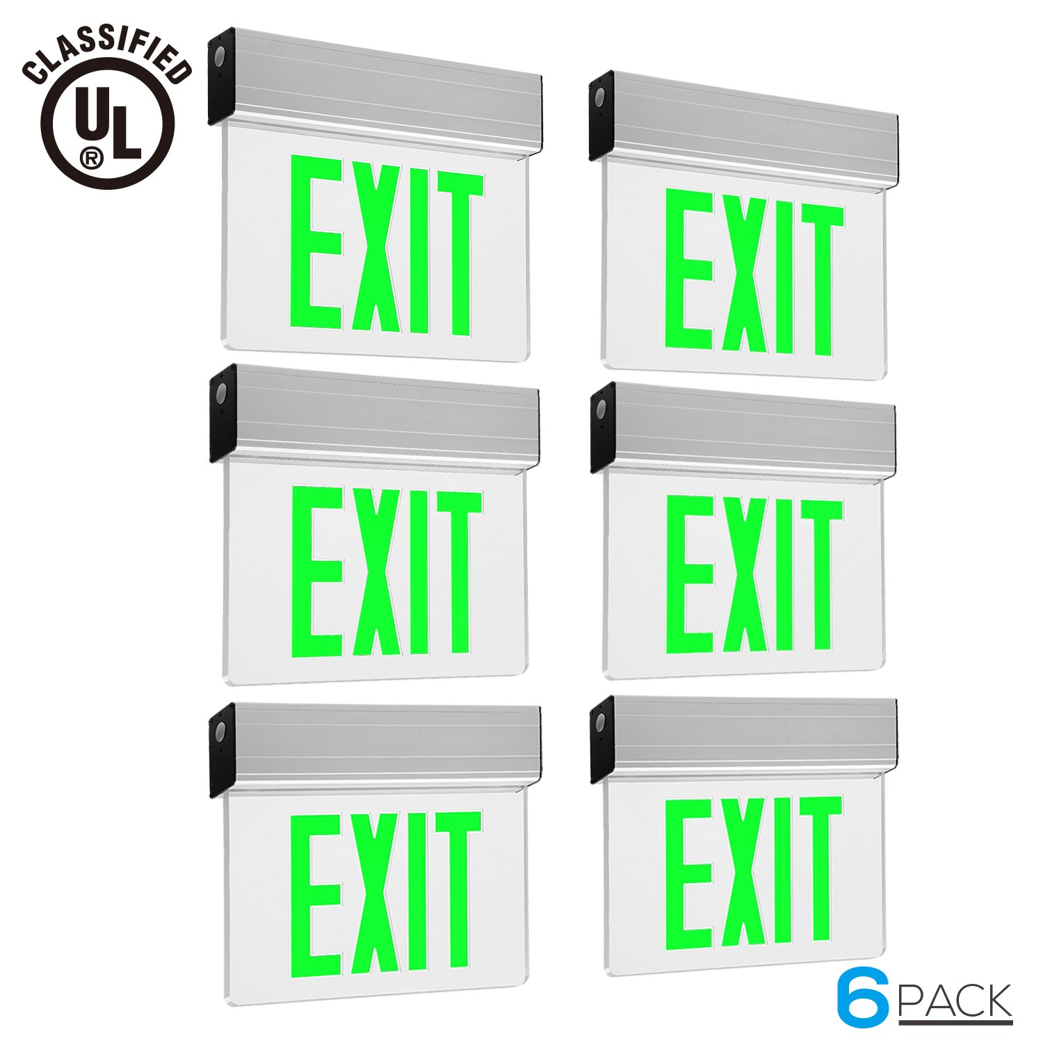 Green LED Exit Sign, UL-Listed Emergency Light, AC 120V/277V, Battery included, Single/Double Face, Ceiling/Side/Back Mount, for Hotels, Restaurants, Shopping Malls, Hospitals, Pack of 6