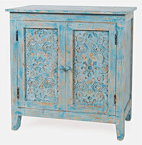 Jofran Global Archive Hand Carved Accent Chest Cabinet, 32 , Weathered Blue