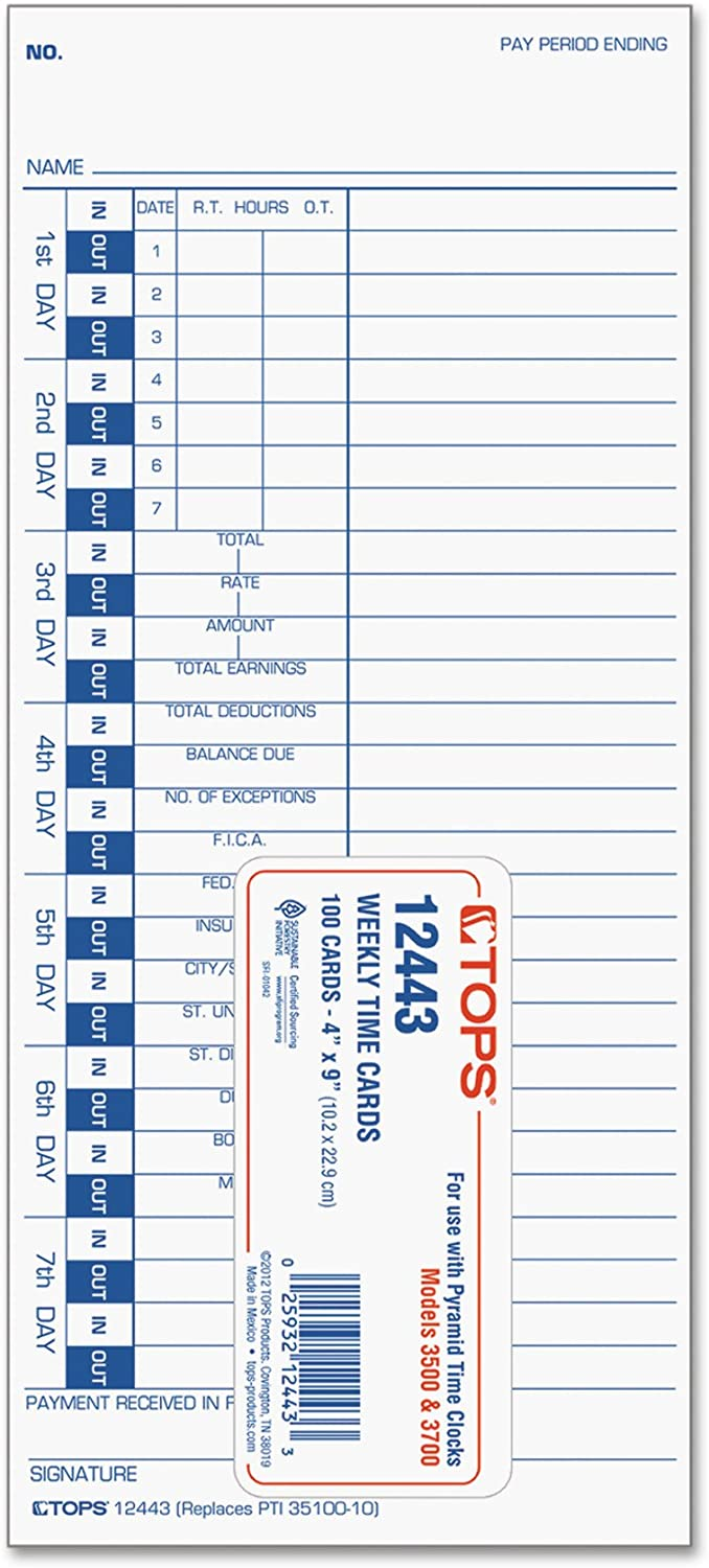 Blue Print 12443 Pack of 6 100-Count TOPS Time Cards 4 x 9 1-Sided White Stock Weekly