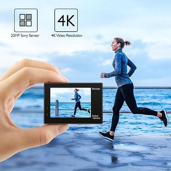 CÁMARA DE ACCIÓN AKASO BRAVE 4 4K 20MPCON WIFI, sensor Sony Ultra HD con EIS 100 pies, sumergible, impermeable, con 2 baterías y kit de accesorios para el casco