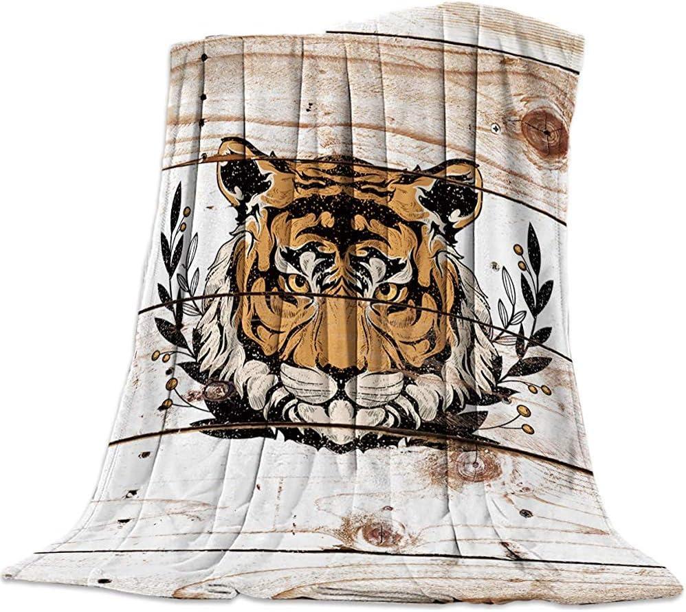 Cy-ril Franela Throw Blanket Soft Plush Luxury Fuzzy Microfiber Fuzzy Light Throw Manta para sofá Sofá Cama Travel Tiger 100 X 130 Cm
