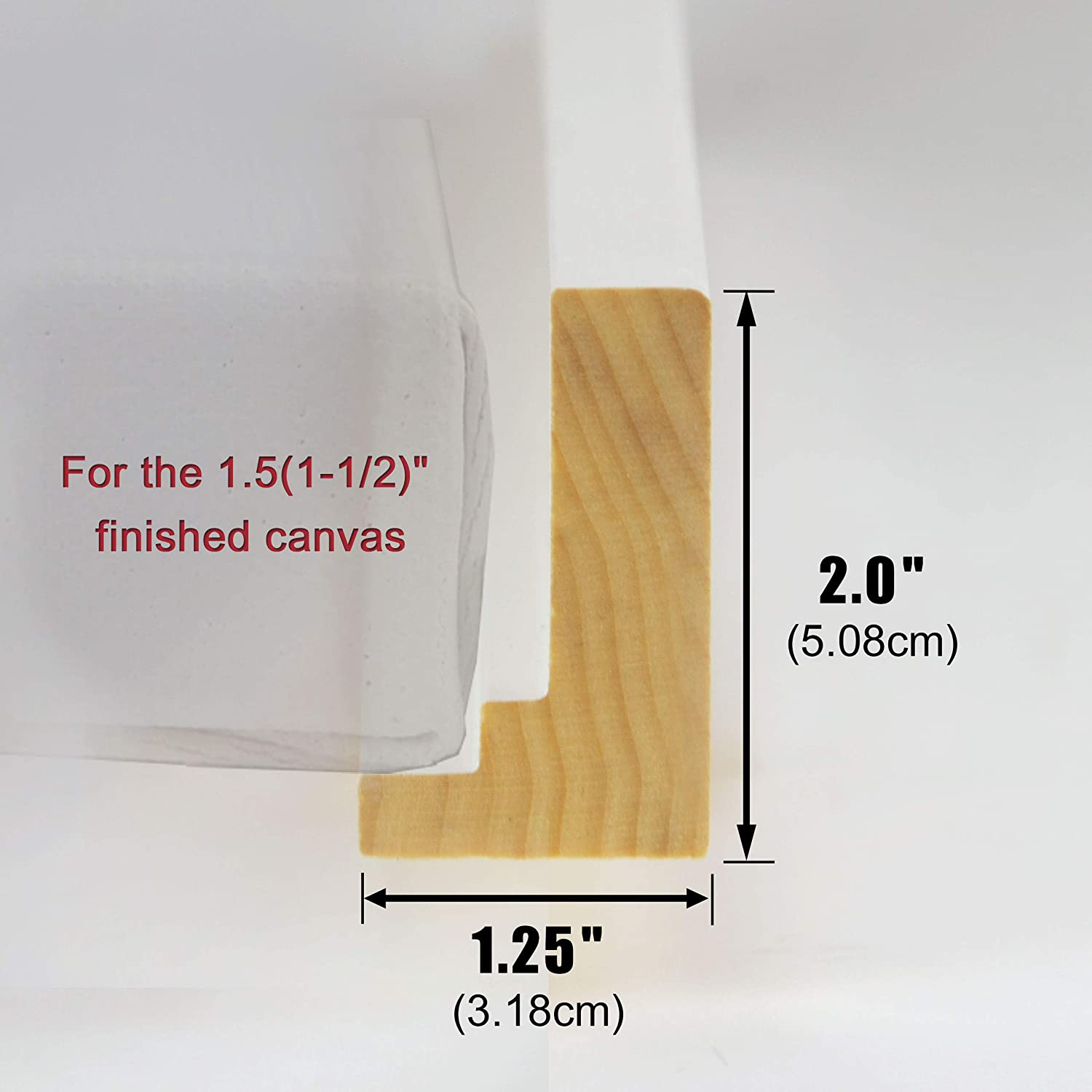 5 to 72 in Length and 2.0 in Height for 1.5 Canvas : Art Floating Display 05X07 1Set DIY Floater Picture Frame//Wood /& Dark Brown