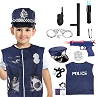 Toys for Boys Age 3-7, Police Costume for Boys Dress Up Role Play Kit for Pretend Play Stocking Stuffer Halloween Christmas Xmas Gifts Gifts for 3-8 Year Old Boys Girls, 11Pack YLUSJCF