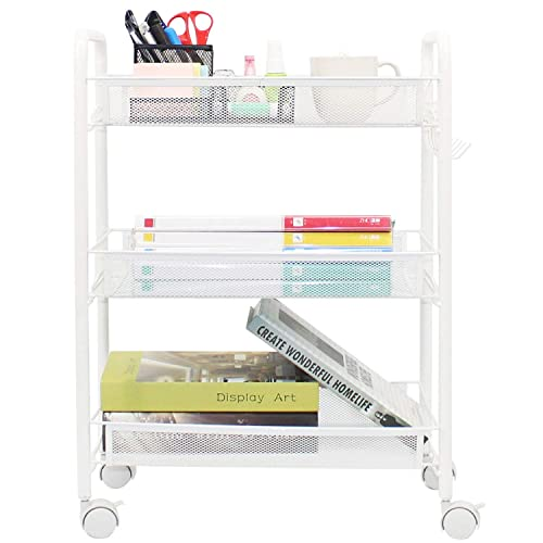Ovicar Mesh Utility Cart, Rolling Basket Stand for Kitchen Bathroom, Full Metal Storage Art Trolley Carts with Wheels 4 Side Hooks 3 Tier, White