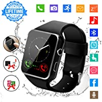 Smart Watch,Bluetooth Smartwatch Touch Screen Wrist Watch with Camera/SIM Card Slot,Waterproof Phone Smart Watch Sports Fitness Tracker for Android iPhone IOS Phones Samsung Huawei for Men Women Kids