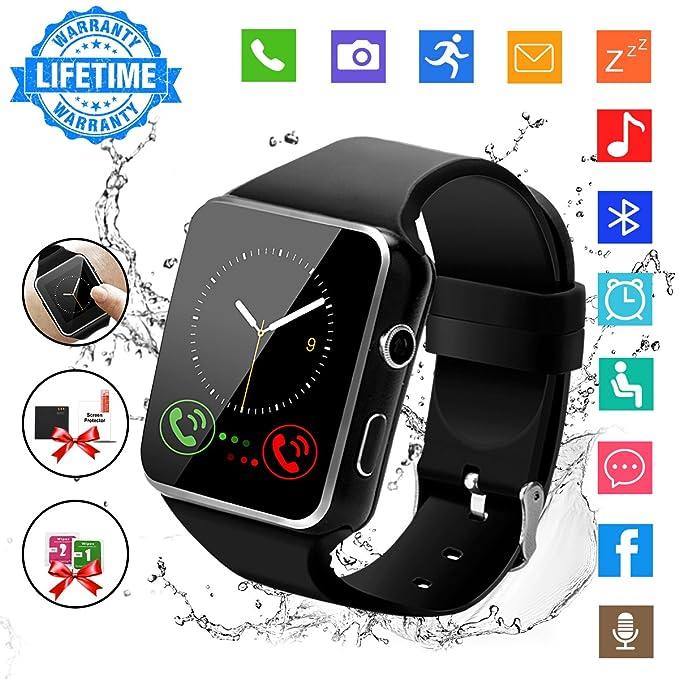 Smart Watch,Bluetooth Smart Watch Touch Screen Smartwatch Sport Smart Fitness Tracker Wrist Watch with SIM Card Slot Camera Pedometer for IOS iPhone ...