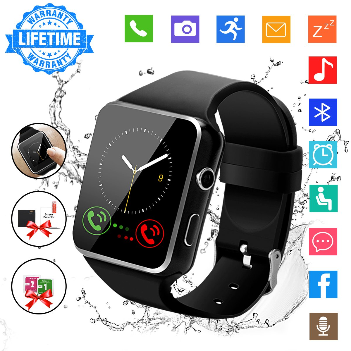Smart Watch,Bluetooth Smart Watch Touch Screen Smartwatch Sport Smart Fitness Tracker Wrist Watch with SIM Card Slot Camera Pedometer for iOS iPhone Android Samsung Smartphones for Men Women Black