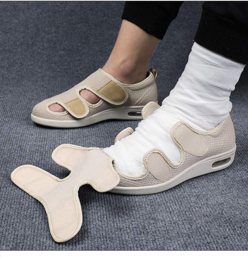 Cxypeng Chaussure Réglable Orthopédique,Sandales âgées Velcro Ajustables pour l'été, Chaussures de Marche à clapet-Bleu B_38,Chaussures à Coussin d'air pour diabétiques Beige