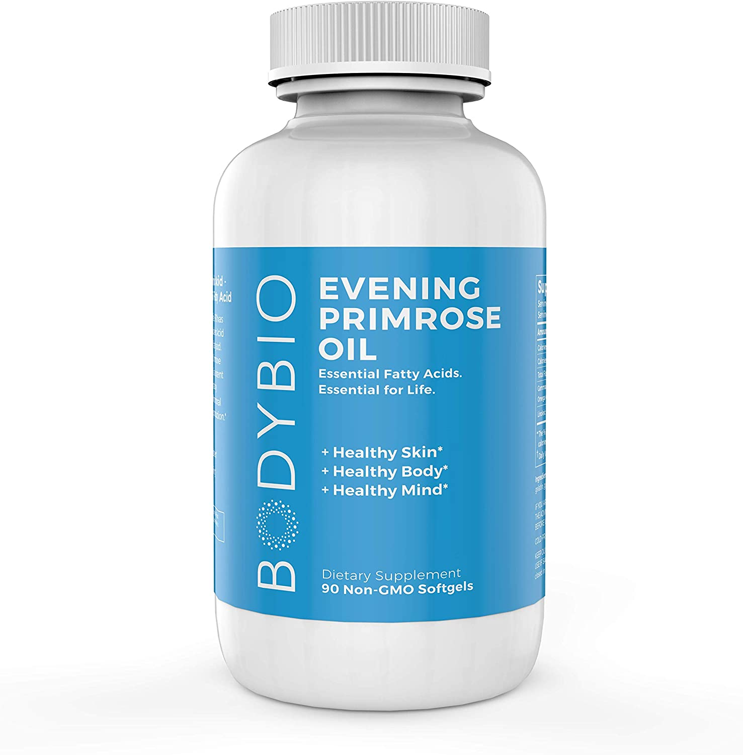 BodyBio – Evening Primrose Oil for Healthy Skin, Immune Support Hormone Balance. Non-GMO, Cold Pressed – 1300mg, 90 Softgels