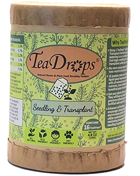 TeaDrops Premium Seedling + Transplant Organic Fertilizer (16 Packets, Makes Indoor & Outdoor Liquid