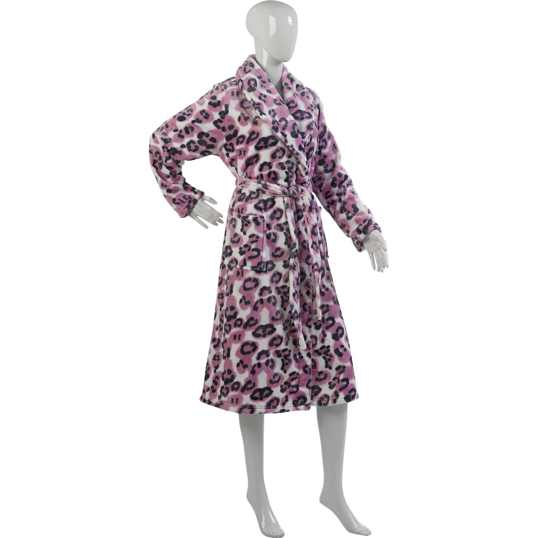 Ladies Luxurious Slenderella Leopard Print Dressing Gown Soft Mink Fleece  Pink Large - UK 16 18  Amazon.co.uk  Clothing 9e87e9e3d