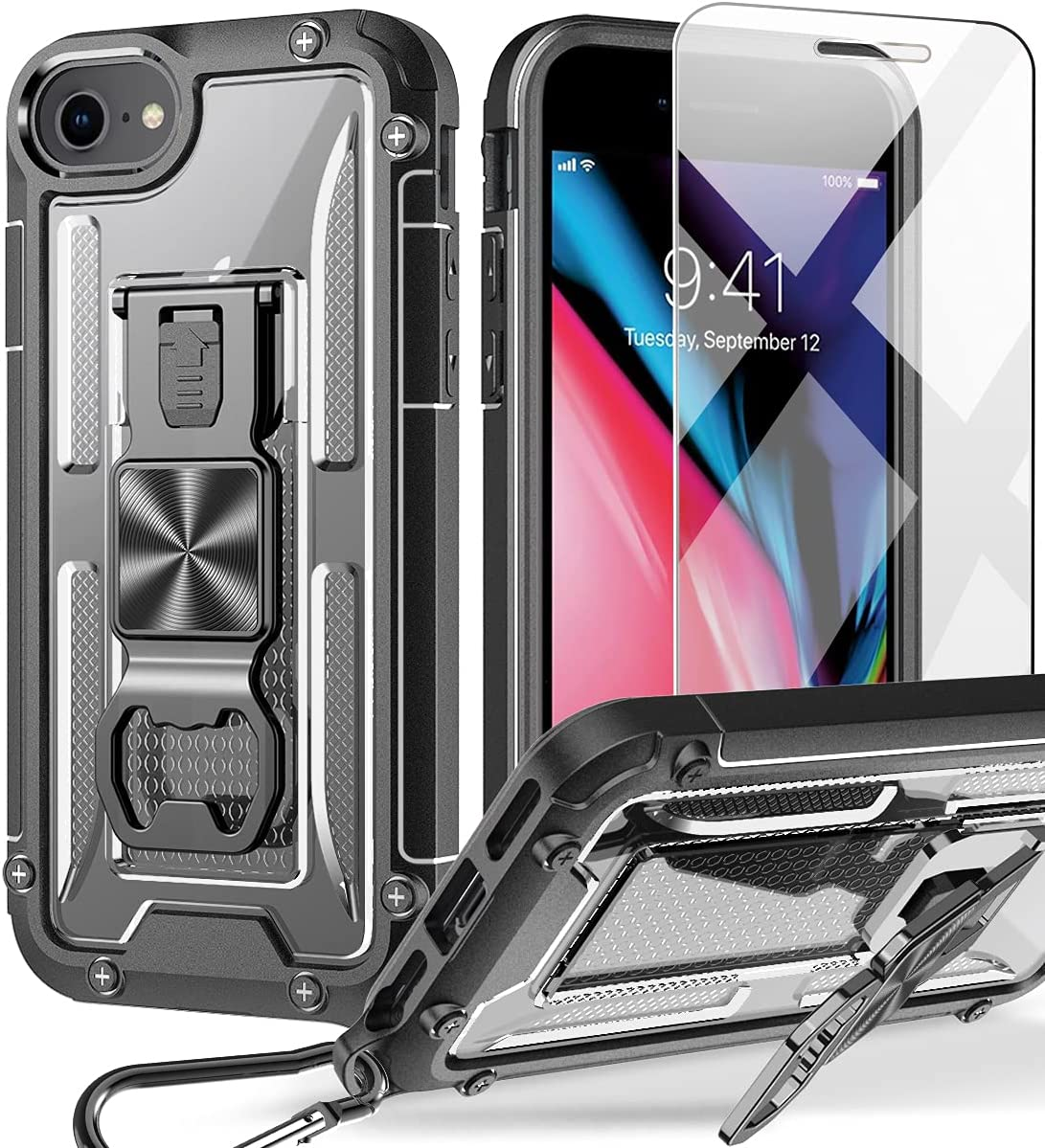 UMIONE Case for iPhone 8, iPhone 7, iPhone SE 2020, iPhone6/6s, with [Carabiner & Screen Protector], Heavy Duty Military Grade Rugged Phone Protective Case with Kickstand for iPhone 6/6s/7/8/SE