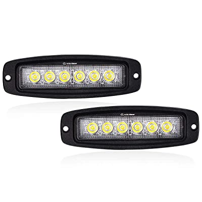 Single Row LED Light Bar YITAMOTOR 2Pcs 7Inch 18W Flood Flush Mount LED Light Pods LED Work Light Off Road Lights Driving Lights Led Fog Light for bumper Boat Lighting, 2 Years Warranty: Automotive