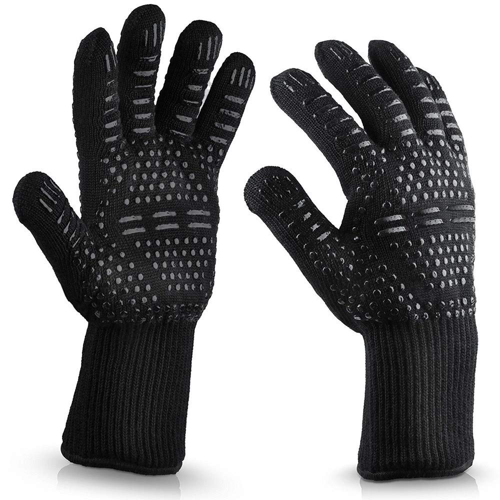 Mlide Barbecue Oven Mitts Heat Resistant Oven High Temperature Gloves Insulation Anti-Scalding Microwave Oven BBQ Grilling Cooking Gloves (H)