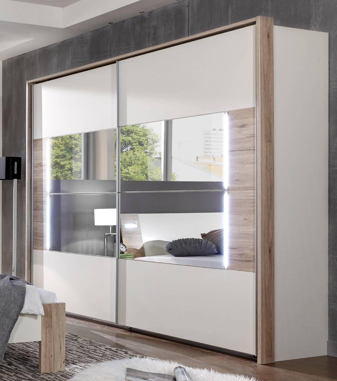 Alemán Downtown blanco y roble 225 cm para puerta corredera armario con puertas de espejo con luces LED: Amazon.es: Hogar