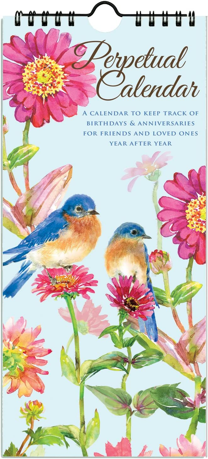 Gina B Gail's Garden Birds and Flowers Perpetual Birthday and Anniversary Calendar, Annual Reminder Calendar with Artwork by Gail Flores