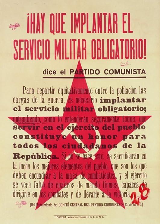 Vintage Guerra Civil Española 1936 – 39 Propaganda debemos aplicar reclutamiento. Publicado por el Partido Comunista de España 250 gsm ART tarjeta brillante A3 reproducción de póster: Amazon.es: Hogar