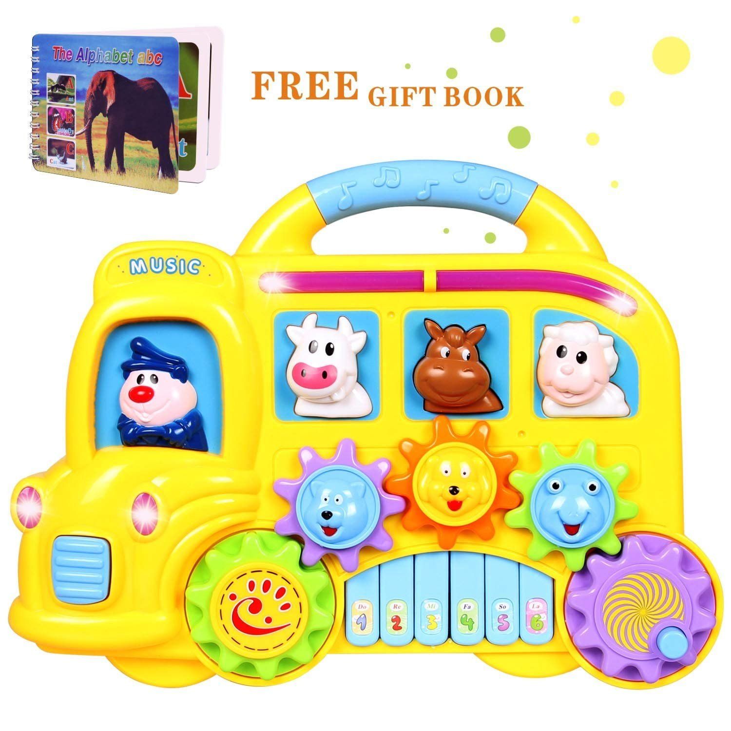 ACTRINIC Baby Music Toys 6 to 12 Months up, Learning and Development Toddler Toys Fun Musical Car Piano Keyboard Electronic Educational Toys with Lights, Sounds and Animals Set