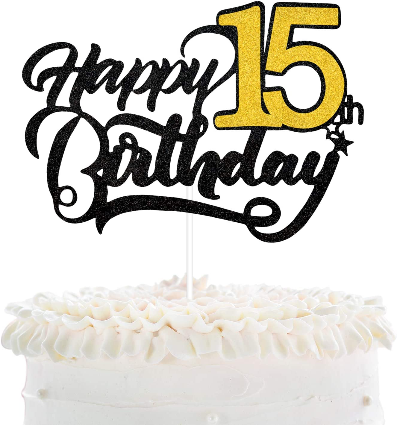 happy 15th Glitter 15 Cupcake Toppers 15 Topper 15th birthday cake 15th anniversary quince anos glitter fifteen 15 birthday pick