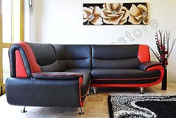 Passero Corner Black And Red Faux Leather Sofa Group Amazon Co Uk