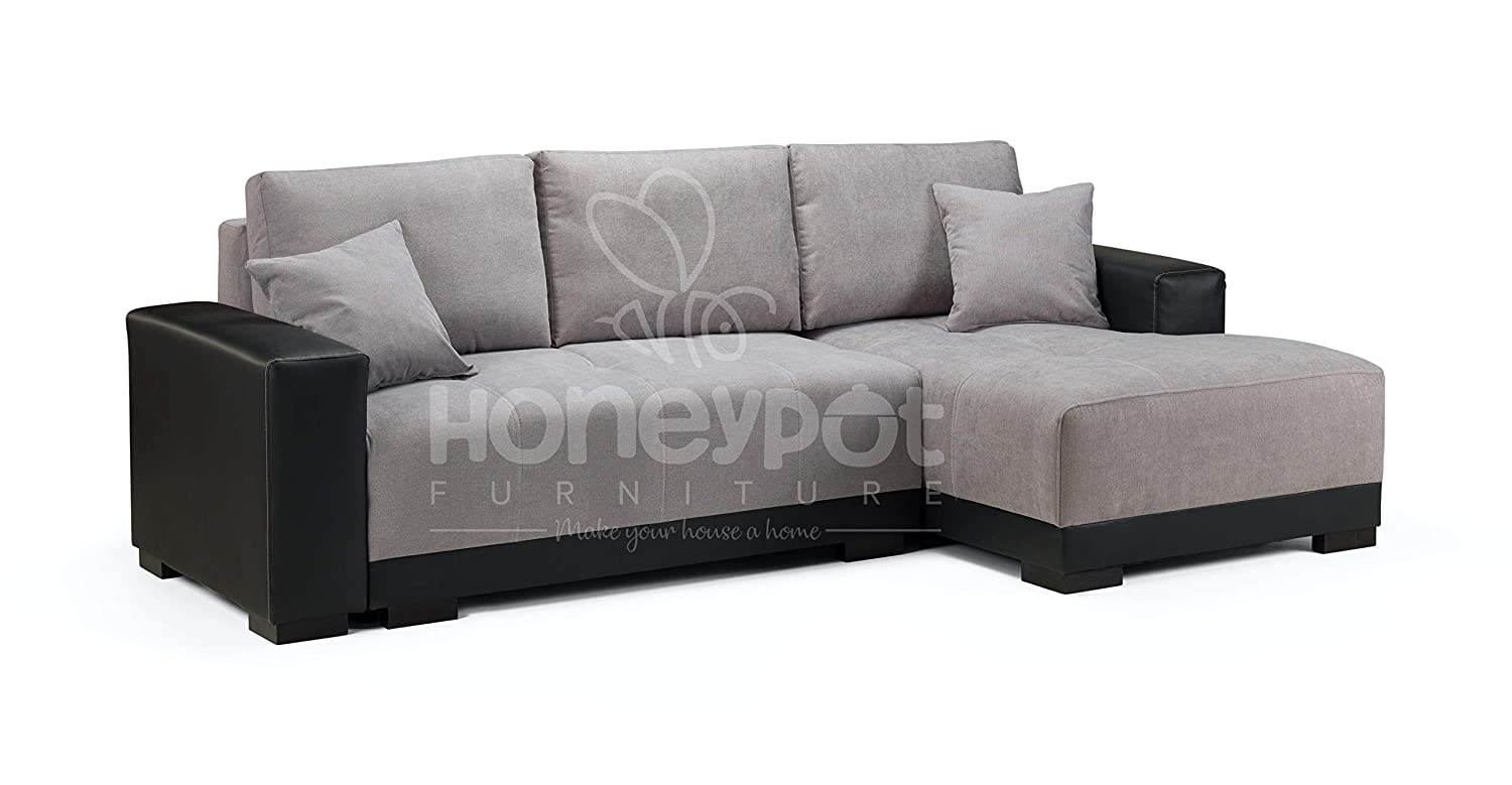 the latest 6370a 208f1 Honeypot - Cimiano - Corner - Sofa bed - Faux Leather/Fabric (Black/Grey,  Right Hand)