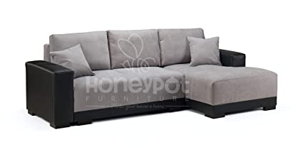 Honeypot - Cimiano - Corner - Sofa bed - Faux Leather/Fabric (Black/Grey,  Right Hand)