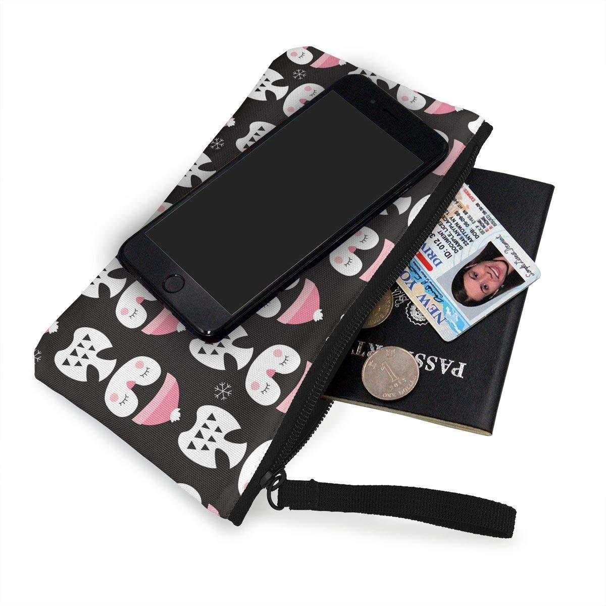 Cute Penguin Pattern Canvas Makeup Bag With Zipper For Women Womens Retro Coin Purse