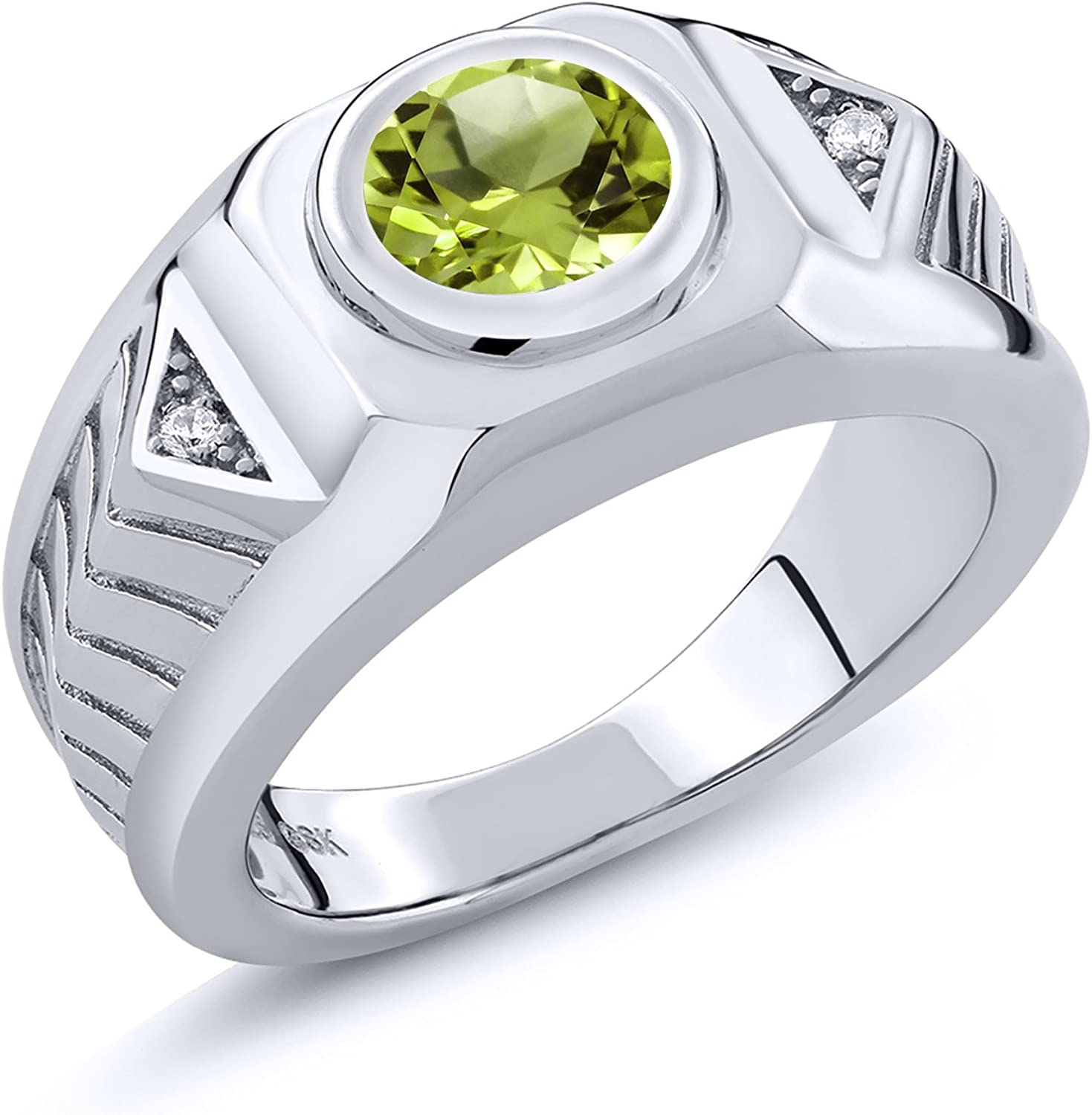 Gem Stone King 2.03 Ct Round Green Peridot 925 Sterling Silver Men's Ring
