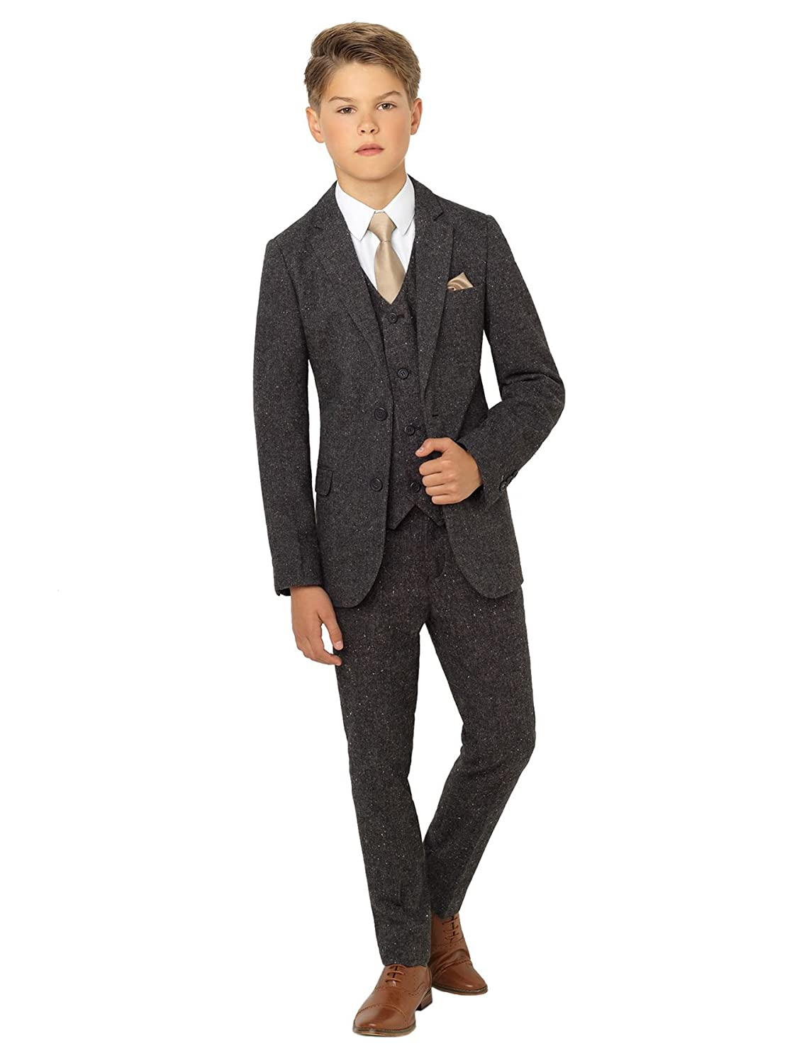 1930s Childrens Fashion: Girls, Boys, Toddler, Baby Costumes Paisley of London Ainsley Tweed Boys Gray Slim Fit Occasion Wear Kids Wedding Suit with Shirt and Gray Vest X-Large to 20 $84.99 AT vintagedancer.com