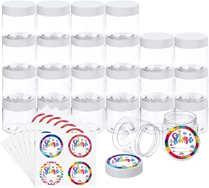 Habbi 24 Pack 6OZ Empty Slime Containers Slime Jars Plastic Containers with White Water-Tight Lids and Exquisite Stickers for DIY Slime Making, Beauty Products, Food or Others