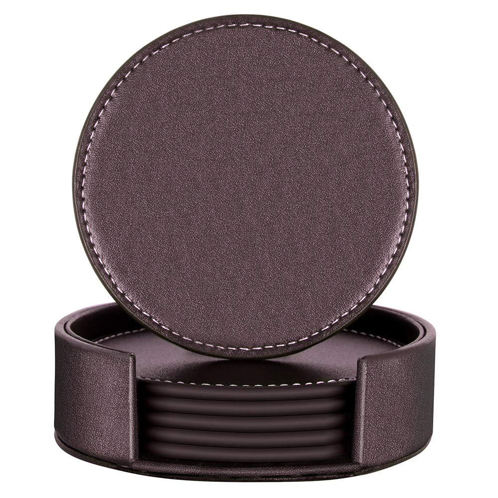 Coasters for Drinks,THIPOTEN Leather Coasters with Holder,Protect Furniture from Damage(6PCS, Brown) by Thipoten