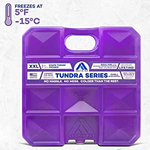 Arctic Ice Tundra Series Reusable Ice Pack for Coolers, Lunch Boxes, Camping, Fishing, Hunting and More, Freezes at 5F - XX-L (10 LBS)