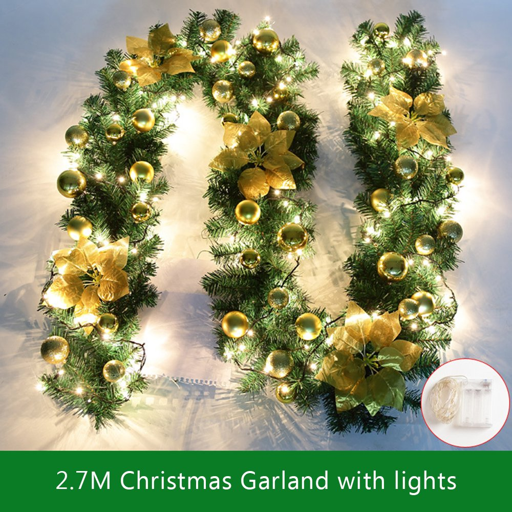 2.7M Decorated Garland Illuminated with Lights Christmas Decoration Xmas Garland for Fireplace Stairs Gold Baubles Flowers Xmas Tree Decoration bennyuesdfd