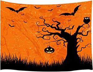 Shocur Happy Halloween Party Tapestry, Ghost Tree Pumpkin Lights and Owl Bats Orange Background Tapestry, Wall Hanging Art for Living Room Bedroom Home Decor, 59 X 78 Inches with Pins