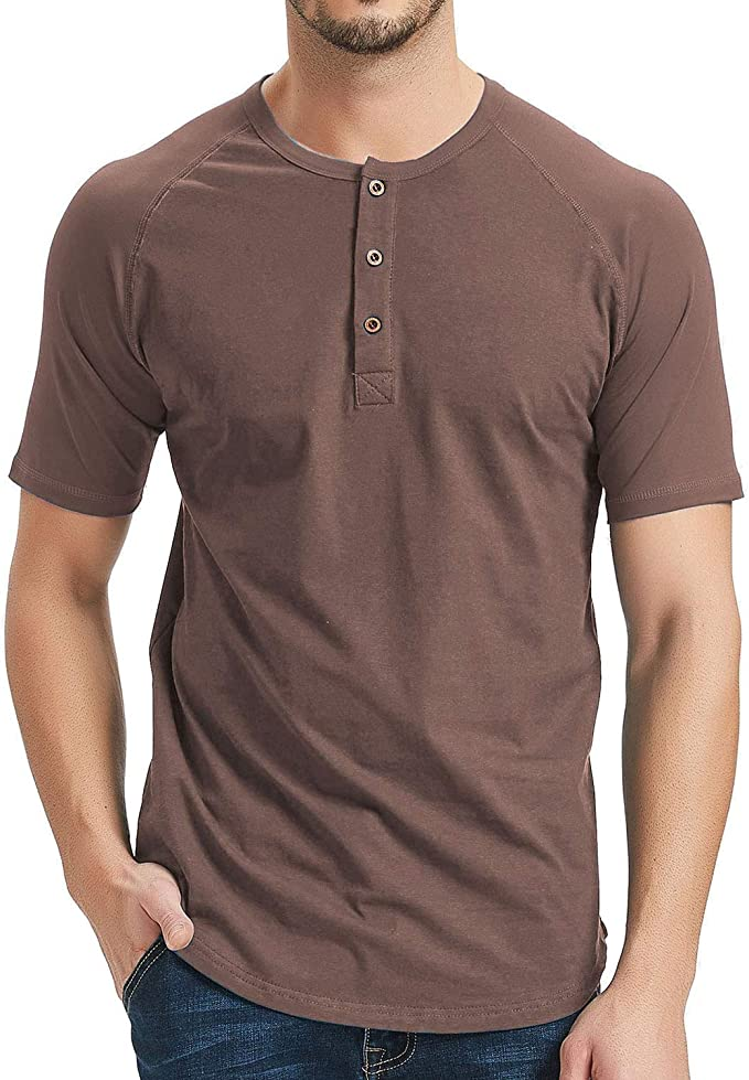 Mens Short Sleeve Henley Shirt Raglan Fit Baseball T-Shirts Tee