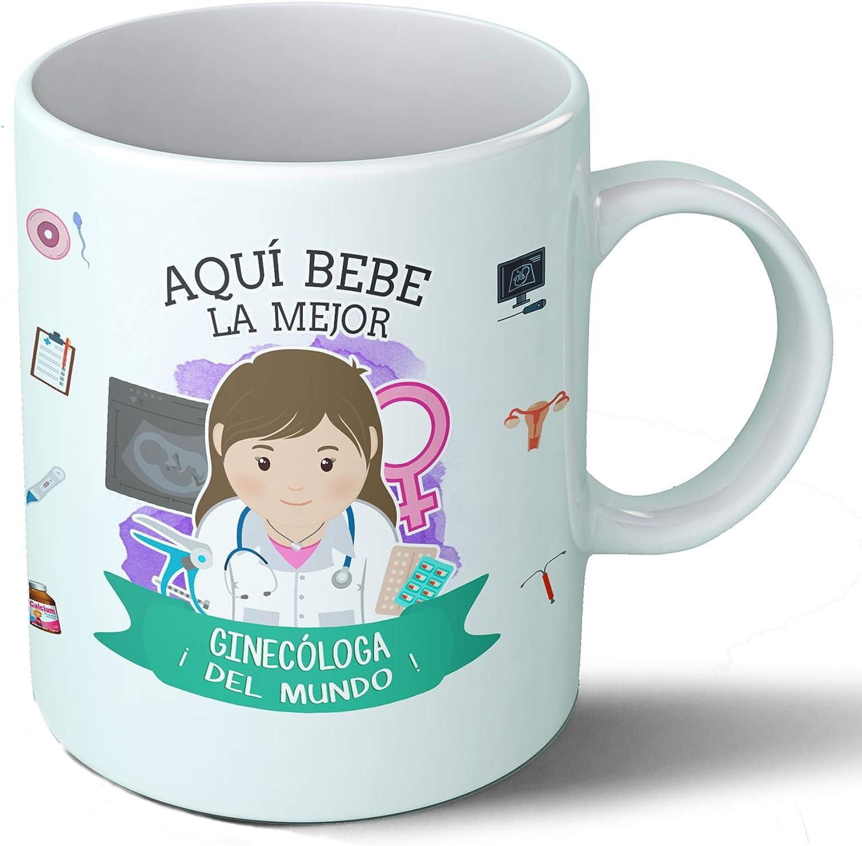 Planetacase Taza Desayuno Aquí Bebe la Mejor ginecóloga del Mundo Regalo Original ginecología Ceramica 330 mL ...