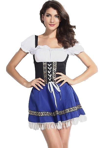 Fancy Me - Disfraz de camarera de la Oktoberfest (tallas 38 a 48),