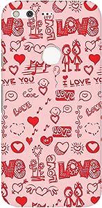 Stylizedd Google Pixel XL Slim Snap Basic Case Cover Matte Finish - Love Doodle