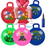 5 Pack Jump Hopper Bouncy Hopping Ball 18 inch with Handle Party Favors for Kids 3-6 Years,School Team Ride and Jumping…