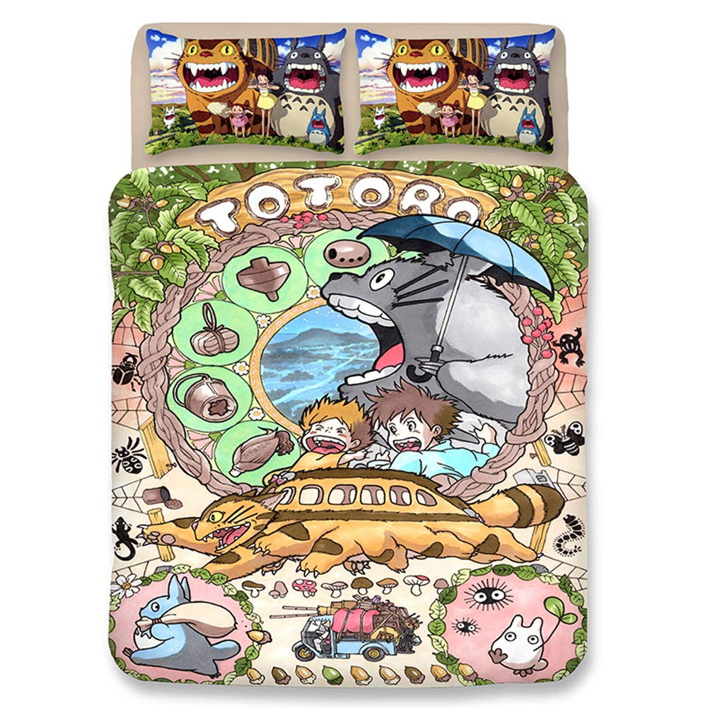 My Neighbor Totoro Thicken Flannel 4 Pieces Bedding Set Cartoon Totoro Warm  Duvet Cover Sets Totoro Bed Sheets Full Size  Home   Kitchen 0b71b91ca