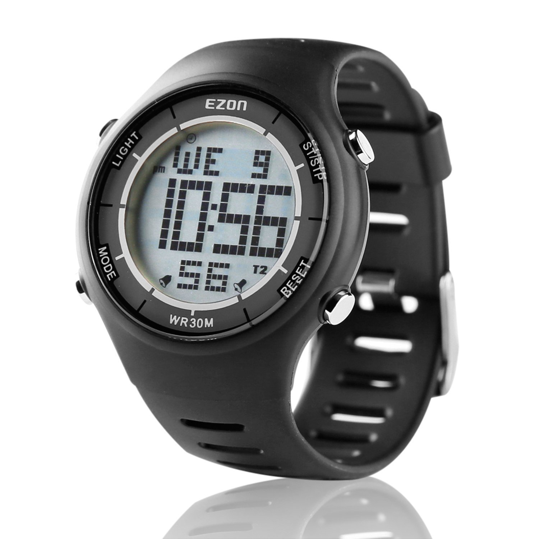Digital Sport Watch Ultra Thin Outdoor Running Waterproof Mens Black Watch Black EZON L008A11