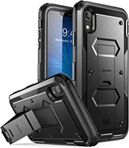 """i-Blason Armorbox Series Case Designed for iPhone XR 2018 Release, [Built in Screen Protector] Full Body Heavy Duty Protection Kickstand Shock Reduction Case, Black, 6.1"""""""
