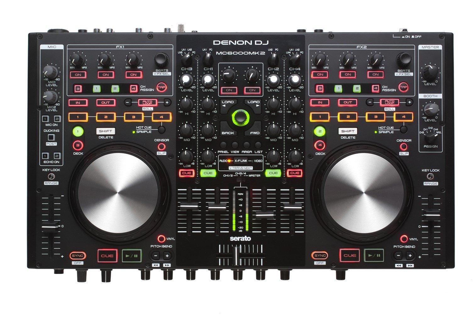 Denon DJ MC6000MK2 | Premium Digital DJ Controller & Mixer with full Serato DJ download (4-Channel / 4-Deck / 8-Source)