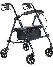 HOMCOM Andador para Ancianos Silla de 4 Ruedas Rollator Plegable con Asiento Regulable en Altura Freno Manual Cesta Carga 136kg