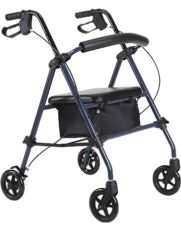 HOMCOM Andador para Ancianos Silla de 4 Ruedas Rollator Plegable con Asiento Regulable en Altura Freno
