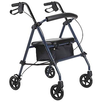 HOMCOM Andador para Ancianos Silla de 4 Ruedas Rollator Plegable con Asiento Regulable en Altura Freno Manual Cesta Carga 136kg: Amazon.es: Salud y cuidado ...