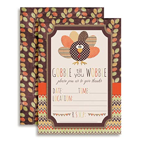 amazon com gobble till you wobble thanksgiving party invitations