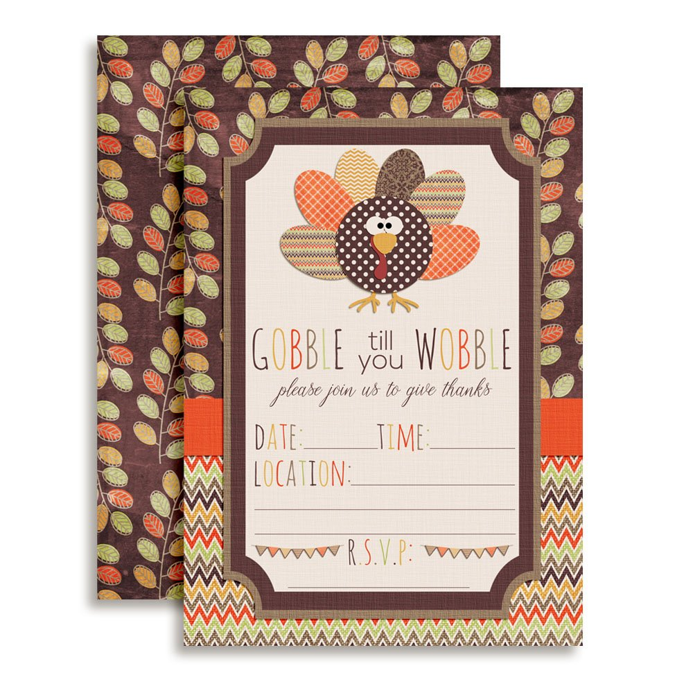 Gobble Till You Wobble Thanksgiving Party Invitations, Ten 5''x7'' Fill in Cards with 10 White Envelopes by AmandaCreation