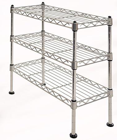 Seville Classics 3 Tier UltraZinc Cabinet Organizer, 7.5u0026quot; D X  17.5u0026quot; ...