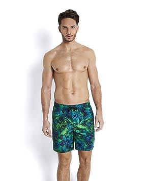 6c1a1fe39e Speedo Men's Beachburst Printed Leisure Watershorts Navy/Fluo  Green/Aquarium, X-Small